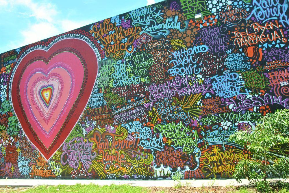 Cœur sur un mur de Wynwood