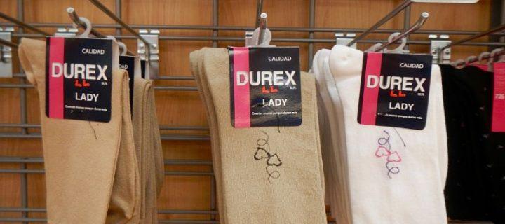 Chaussettes Durex et autres produits aux noms étranges