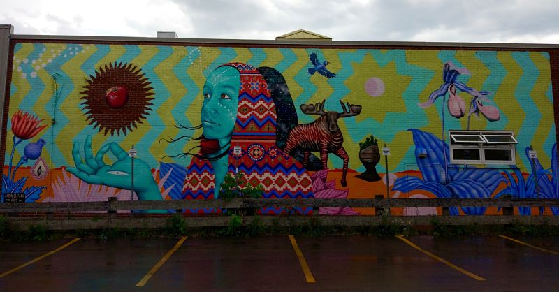 Murale, graffiti sur un parking de Moncton