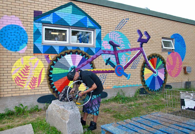 Street art à Moncton dans ce magasin de vélo