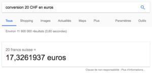 Taux de change proposé par google