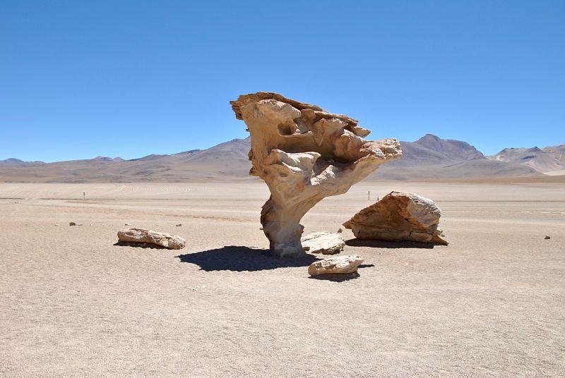 Arbol de piedra dans le désert de sel d'Uyuni