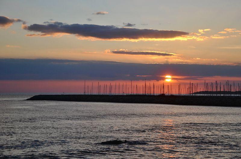 Coucher de soleil sur le port de Pornichet