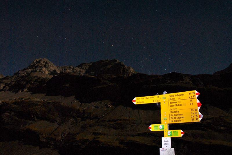 Photographie de nuit sur le tour des Dents du Midi