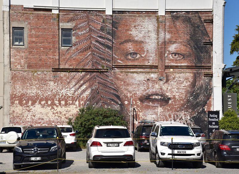 Murale sur un parking à Christchurch