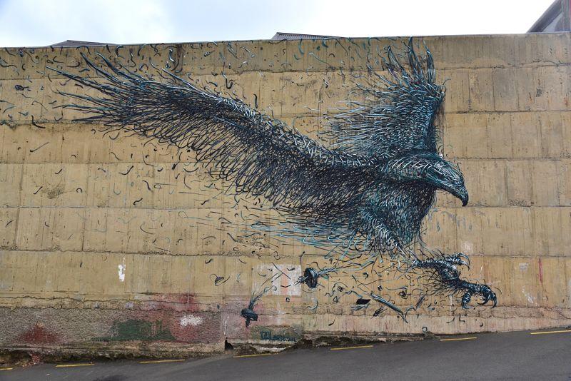 Aigle géant en peinture murale à Dunedin