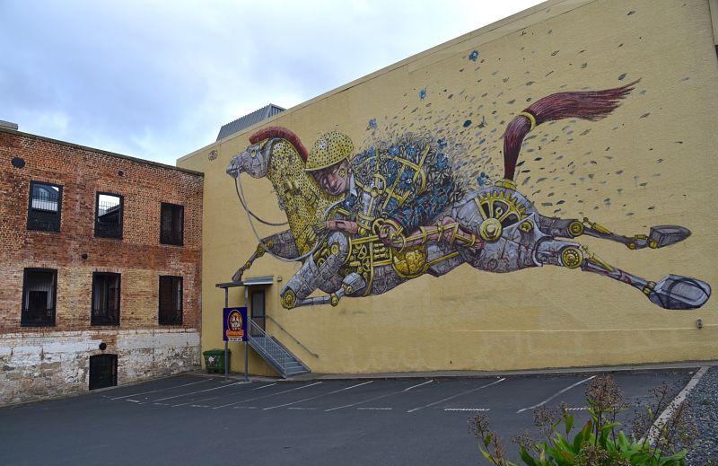 Murale d'une cheval dans les rues de Dunedin