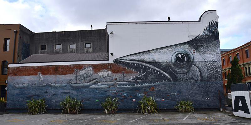 Murale sur le Street Art Trail à Dunedin