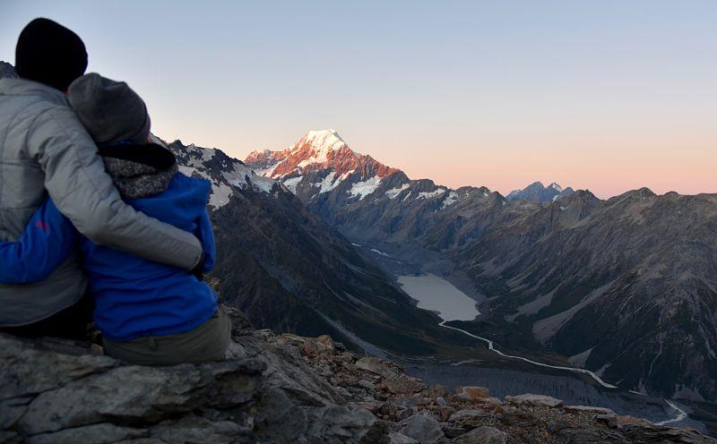 Coucher de soleil sur la randonnée à Mueller Hut face au Mont Cook