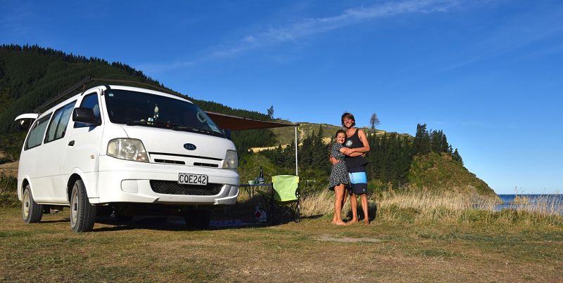 Vanlife en Nouvelle-Zélande dans ce super freecamp au bord de la mer vers Picton