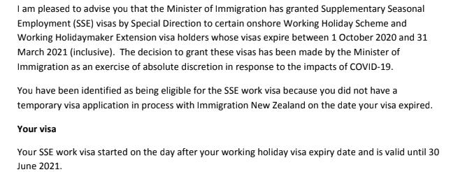 Extension SSE après le PVT en Nouvelle-Zélande