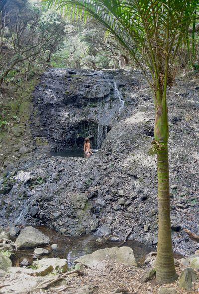 Piscine naturelle avant la cascade de Karekare