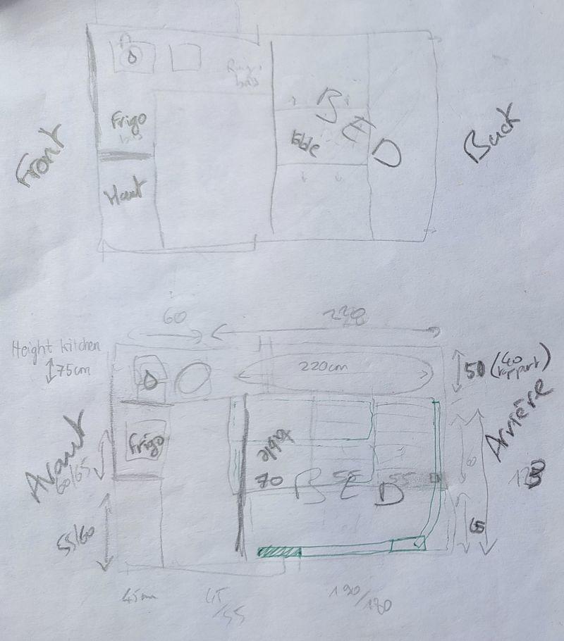 Ebauches de plans pour notre van aménagé Ford Transit Custom L2H1