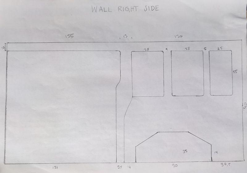 Plan vierge du mur du Ford Transit Custom